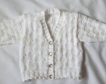 Baby girl cardigan, 3-6 months, white sparkle baby cardigan,Baby girls clothing, white baby clothes, Knitted baby clothes, baby cardigan,