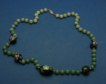 Vintage Chinese Export Jade And Cloisonne Bead Gold Filled Necklace