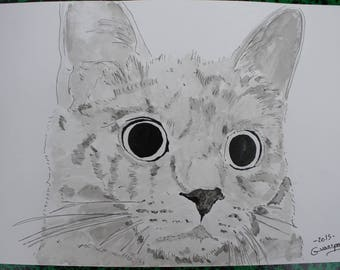 "Cat kitten animal ""Big eyes"" drawing ink of China and signed ink wash G.Vanspey"