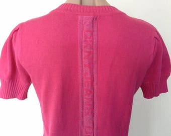 Vintage DKNY Jeans Fuscia Cotton Blend Knit Sweater Top Puff Short Sleeved Size S