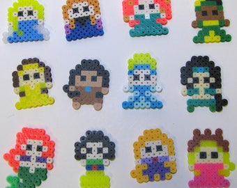 Disney Princess Perler Melting Bead Character Keychains and Magnets