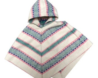 Kids Baby Poncho. Handsewn and Handwoven