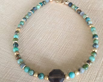 African Turquoise and 14K Gold Beaded Stacking Bracelet