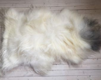 White grey long haired large sheepskin rug spael sheep skin throw 17235