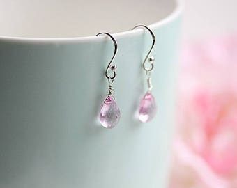 Pink Topaz Wire wrapped ,Sterling Silver Earrings, Pink stone,November Birthstone earrings,Topaz Jewelry, Dangle Earrings, Gift for her