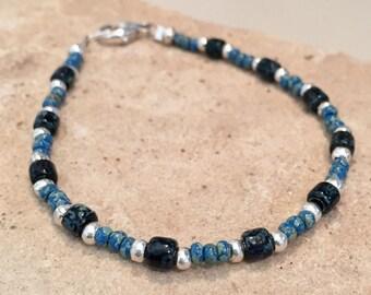 Blue Czech glass seed bead bracelet, boho bracelet, Hill Tribe silver bracelet, small bracelet, sundance style bracelet, gift for her