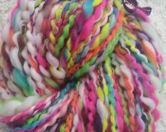 Kaleidoscope wool spun to spinning wheel.