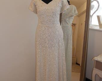 Boho Wedding Dress Lace Vintage Beaded Ivory
