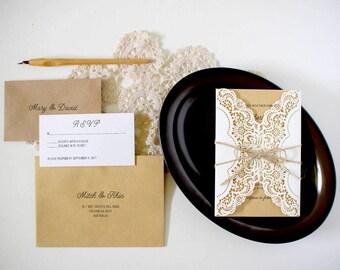 Rustic Wedding Invitation, Lace Invitations, Rustic Wedding Invites, Laser Cut Wedding Invitations,