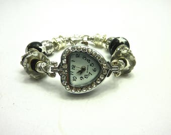 Rhinestone Heart Watch and its black and white beads