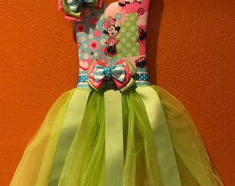 Pink, Blue, and Green Minnie Mouse Tutu Bow Holder, Hair Bow Holder