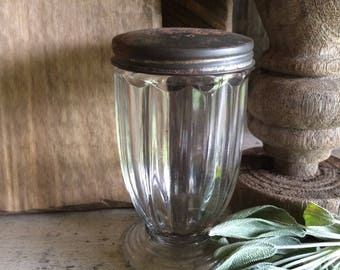 Glass pedestal Shaker with tin top -  Sweet !