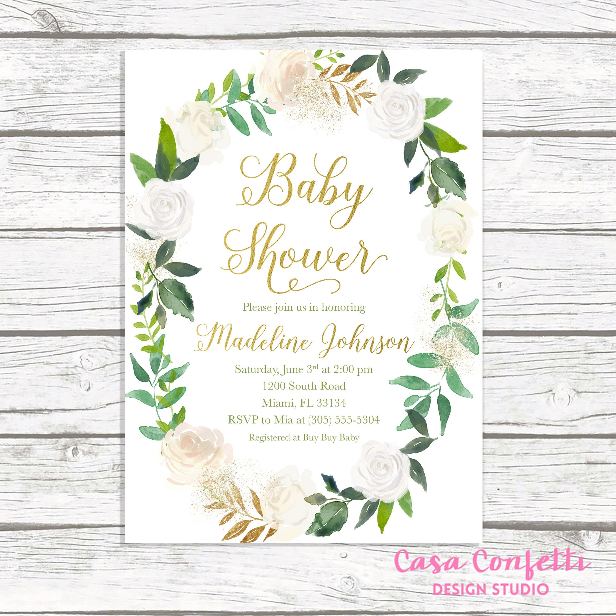 Green Baby Shower Invitation, Baby Shower Brunch Invitation ...