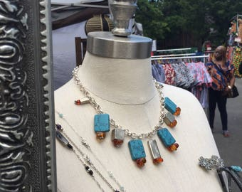 SALE Turquoise, Amber and Silver Choker 145 dollar off (New Price Listed)