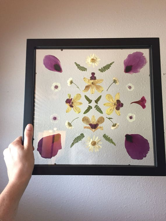 Peony Petal and Orchid Mandala- Floating Framed Flower Mandala Art- Botanical Art- Real Pressed Flower Art - 12x12- Puple & Yellow