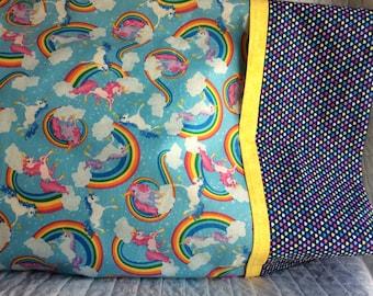 RAINBOW UNICORN PILLOWCASE For Standard Pillow