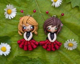 Baby ladybug/ Bee/ Doll ladybug/ Kawaii Doll/ Kawaii necklace/ Fairy necklace/ Pixie necklace