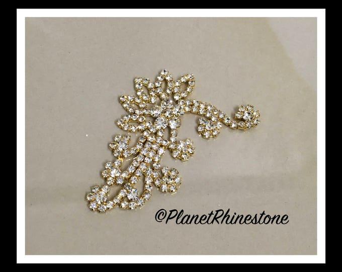 Gold Rhinestone Flower Branch #AF-6
