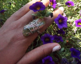 UNAKITE Wire Wrapped Crystal Ring