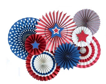 Patriotic Paper Fans, Red White Blue, Party Fans, 4th of July, Stars and Stripes, Fourth of July, Military, Team USA, United States,