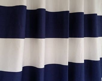 Navy blue and white horizontal Stripe shower curtain, 72W x 72L cotton  SKU 118