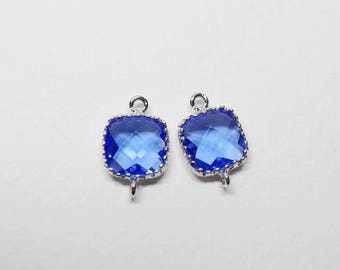 G0001C/Sapphire/Rhodium plated over brass/Tooth Framed square faceted glass connector/9mm x 13.4mm/2pcs