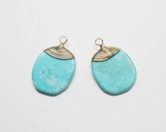 P0689/Anti-Tarnished Gold Plating Over Brass + Turquoise/Flat Turquoise Stone Pendant/12.5x19.5mm/2pcs