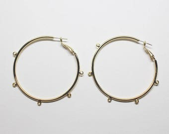 E0216/Anti-Tarnished Gold Plating Over Brass +Sterling Silver Post/Extra Large Wheel Stud Earrings/56mm(include rings)/2pcs