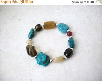 ON SALE Retro Southwestern Inspired Turquoise Simulated Stones Bracelet 61717