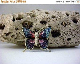 ON SALE Vintage 1950s Colorful Metal Butterfly Pin 101816
