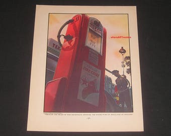 1937 Wayne Gas Pump Art Print, Vintage Magazine Page, Stevan Dohanos Artist, Texaco Gas Station, Large 10.75x13.75