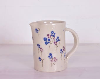 Beautiful jug floral-jug floral pattern-blue and violet flowers-inauguration gift-handmade jug-production on order