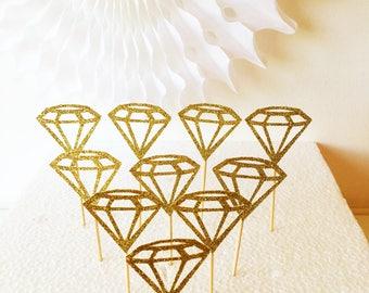 Diamond Cupcake Toppers, 10 Glitter Picks, Engagement, Wedding, Anniversary, Hen Party, Bachelorette, Celebration Picks, Party Time