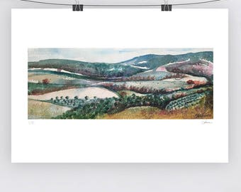 Watercolour Italian Landscape - A3 - A4 size - Fine Art Print - Limited Edition - Inspired by landscape in Italy Tuscany Hills under rain