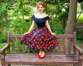 Circle skirt/custom made/50s skirt/vintage skirt/swing skirt/pinup skirt/elasticated skirt/red skirt/poppy skirt/pinup skirt/full skirt