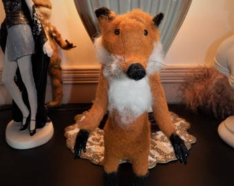 needle felted fox sculpture