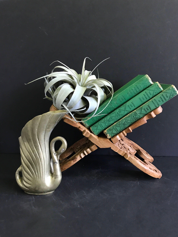 vintage wood carved book holder carved magazine rack boho