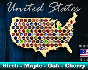 United States Beer Cap Map USA - Unique Christmas Gift - Beer Cap Holder Beer Cap Display Gift for Him Wedding Gift Fathers Day