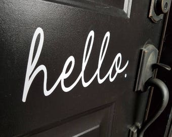 Hello. Front door decal, hello vinyl decal