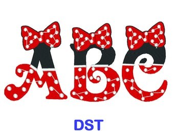 Minnie Mouse Embroidery Font - Disney - DST Format Embroidery Alphabet - Embroidery Letters - Brother - Machine Embroidery Designs Patterns
