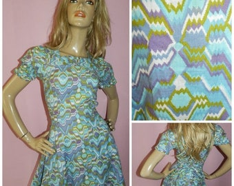 15% off Vintage 1960s Blue/Multicoloured Geometric print DOLLY MOD GOGO dress 6-8 Xs 60s Mini Scooter Kitsch