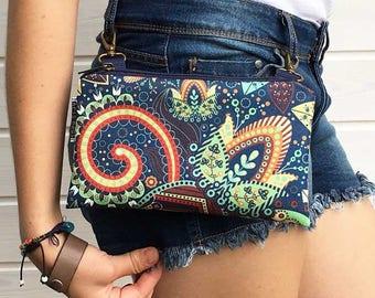 Festival Waterproof Fanny Pack, Mini Crossbody Bag, Festival Bag, Boho Bag, Leaf Bum Bag, Vegan Belly Bag, Waterproof Bag, Gift idea