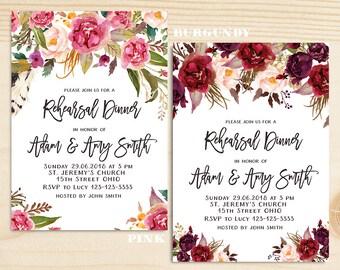 Floral Rehearsal Dinner Invitation, wedding rehearsal dinner invitation, boho rehearsal dinner invitation, garden party rehearsal dinner