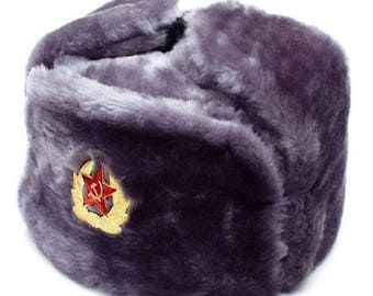 Russian Army Soviet military fur winter Soldier's trapper hat Ushanka earflaps