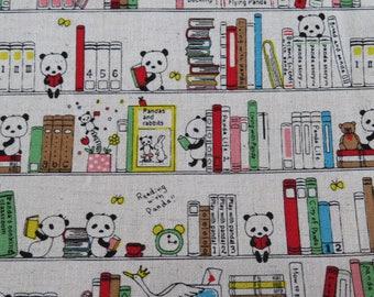 1/2 yard KOBAYASHI Library Panda | 85C15L  | Cotton Blend Light Weight Canvas | Japanese Import | KTS-6337-A Natural