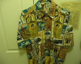 Kahala John Severson Collection Aloha Shirt Men's L 100% Cotton gently used