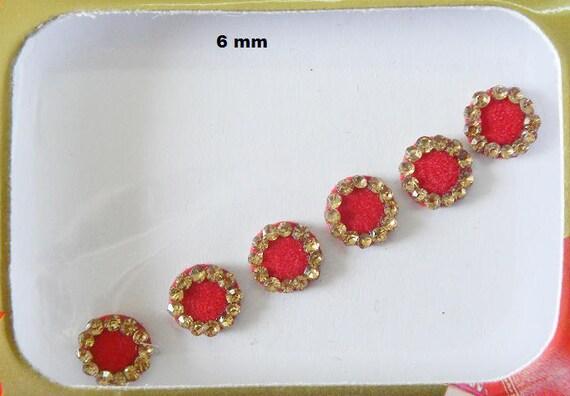 6 Red Round BindiGolden Rhinestone Bridal BindiIndian Dulhan
