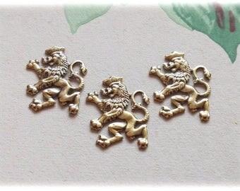 3pcs Brass Stamping Scottish Lion 18x14mm, Lion stamping, Lion Brass, Scotish Lion