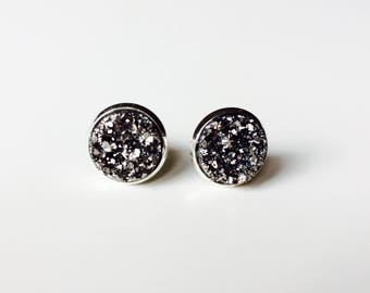 Druzy | Quartz | Faux | Ruff Cut | Round | Stud | Earrings