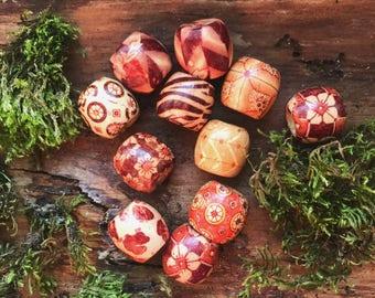 5 Random Wood Dreadlock Beads Dread Accessories